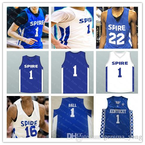12300ab46268 2019 Men Spire Institute 1 LaMelo Ball High School Basketball Jerseys White  Royal Blue Stitched Kentucky Wildcats LaMelo Ball Jersey Good S 3XL From ...