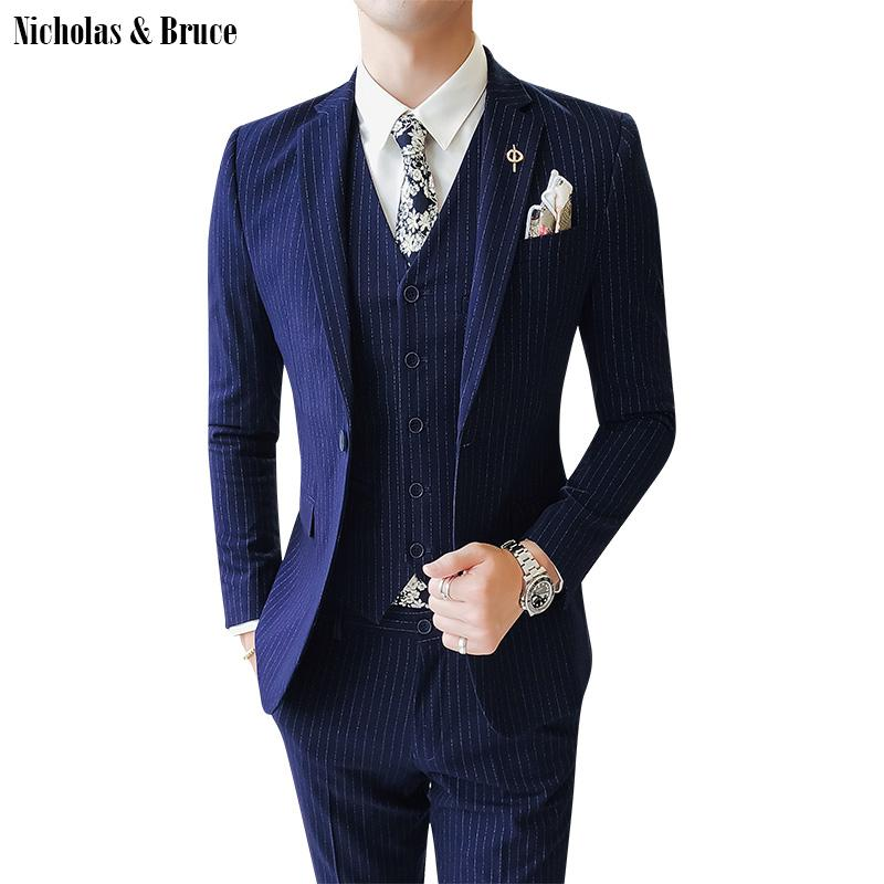 N&B Men Suits 2019 Slim Fit Male Blazers (Jacket+Pant+Vest) 3 Piece Suit Wedding Suits Business Formal Party Classic Coats SR37