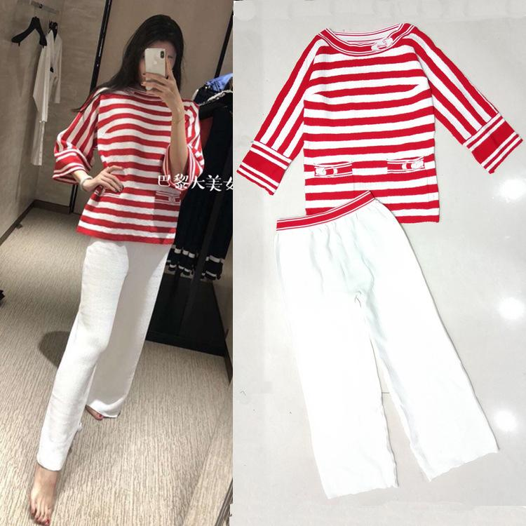 fa6a2d32d44 2019 2019 Spring Summer Quality New Products Red And White Striped Double  Pockets Top Straight Knit Pants Suit Fashion Women From Zhanghui68