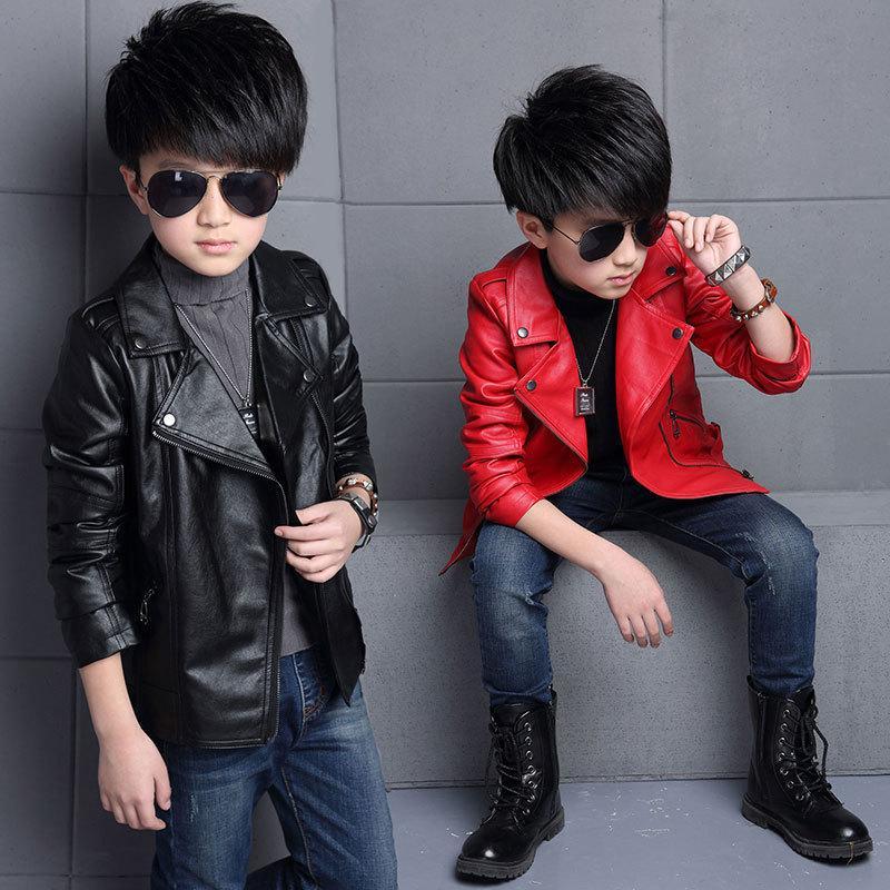 4baf65f88445 New Style Boys PU Leather Jacket Spring Autumn Fashion Coats For ...