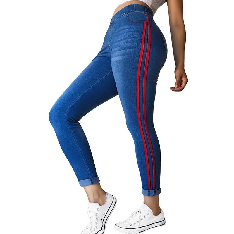 Wenyujh 2019 Womens Jeans High Waist Side Striped Trousers Patchwork Skinny Jeans Matched Casual Pants Slim Jeans Plus Size 4xl Y19042901