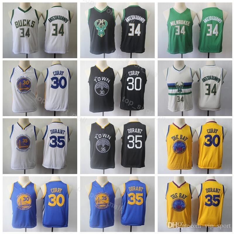 e7c12089f48 2019 Warriors Youth Kevin 35 Durant Jersey Stephen 30 Curry Giannis 34  Antetokounmpo Bucks Kids Basketball Jerseys Children Edition City From  Vip sport