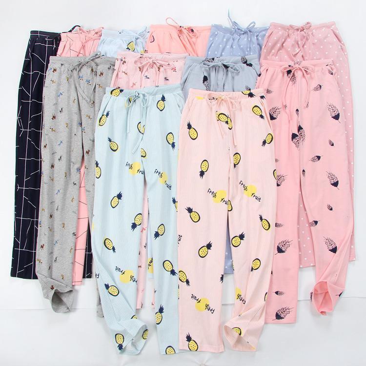 2019 Women'S Cartoon Sleep Pants Knitted Trousers 100% Cotton Household  Lounge Night Pants Lounge Comfortable Thin Pajamas Bottom From Luweiha, ...