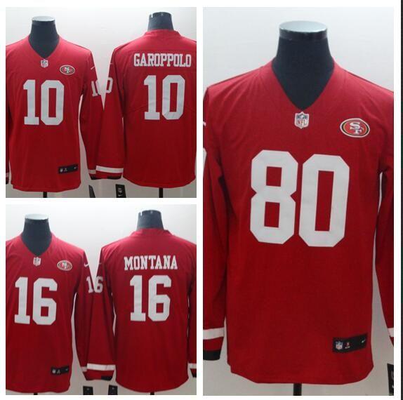 60186172d 2019 Men Women San Francisco 49ers 16 Joe Montana Jersey 80 Jerry Rice 10  Jimmy Garoppolo Therma American Football Long Sleeve Jersey From  Goodjersey7