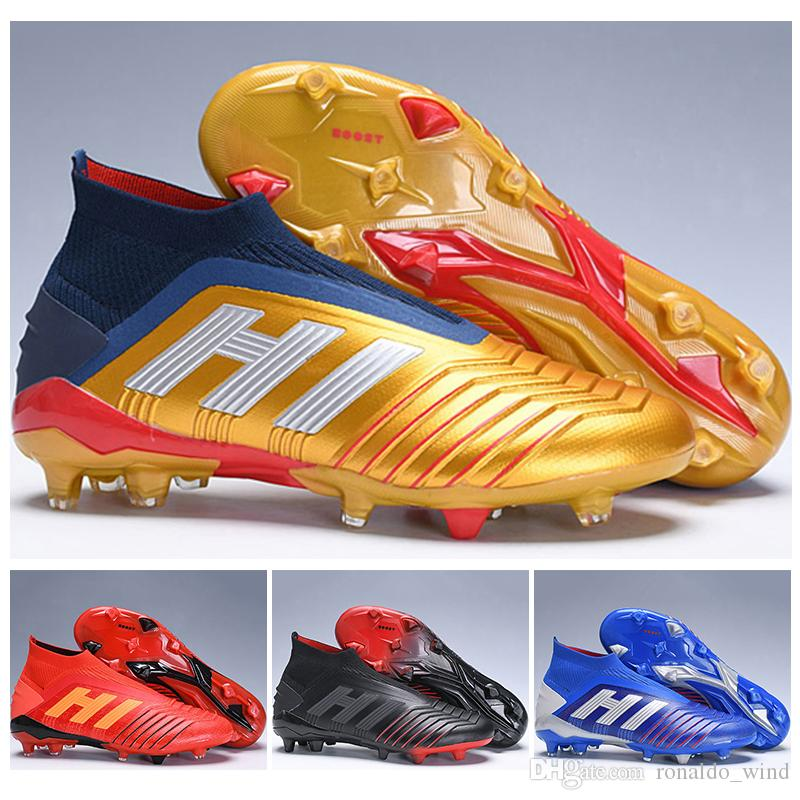 ce7c3e8c498 New Mens High Tops Football Boots Predator 19+ Firm Ground ZIDANE BECKHAM Cleats  Predator 19 FG Outdoor Soccer Shoes