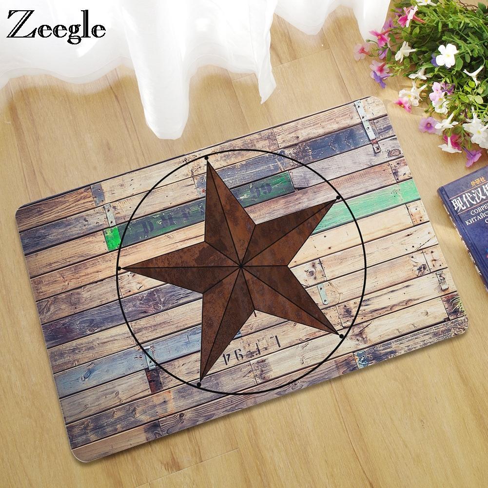 Zeegle Entrance Mats Wood Printed Doormat Outdoor Rugs Rubber Floor