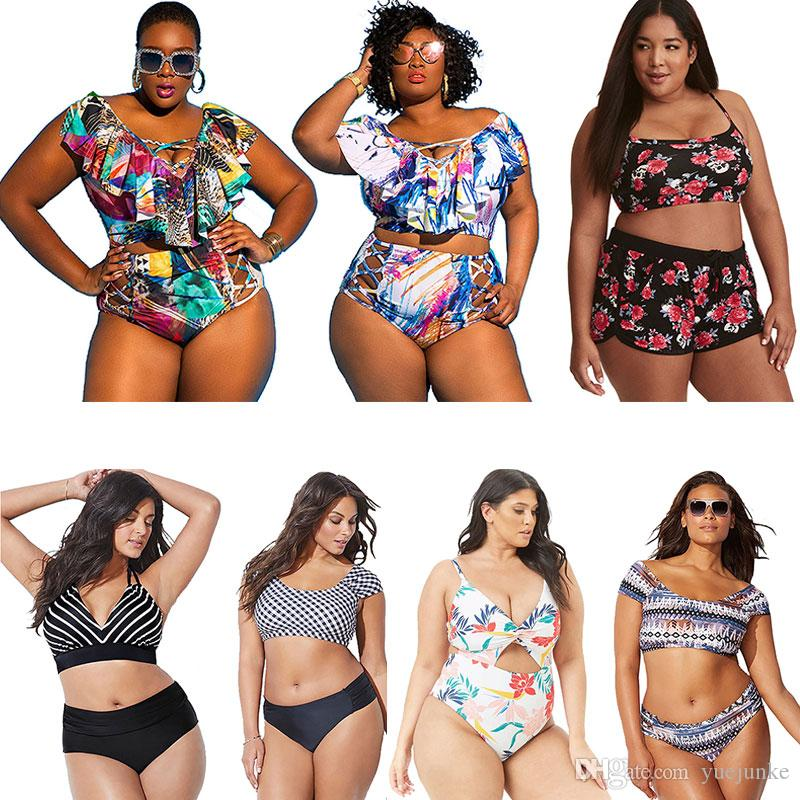 c3180cbf6e 2019 Plus Size Swimsuits For Women Bikini 2019 Two Piece High Waist Swimwear  Bikini Set One Piece Bathing Suit Beachwear Swimsuit XL 4XL From Yuejunke,  ...