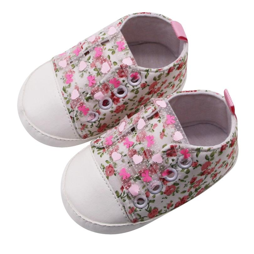 Baby Girls Toddler Shoes Flowers Print Lace-up Casual Sneakers First Walkers Soft Sole Flats Shoes Anti-slip Kids Shoe 0-18M A20