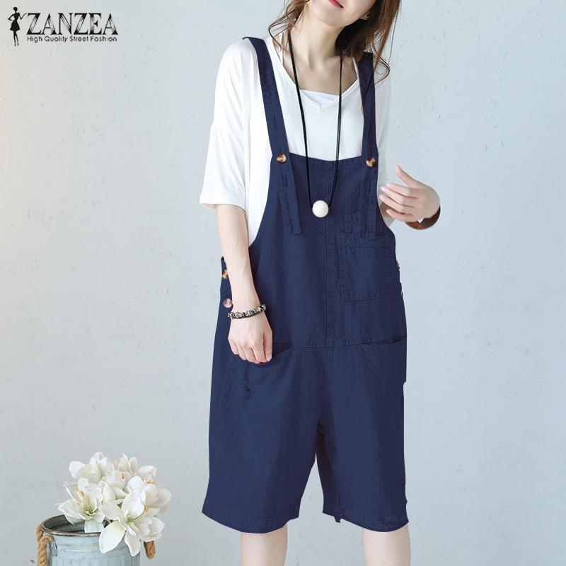 Latest Collection Of 2019 Zanzea New Summer Rompers Womens Jumpsuits Sleeveless Straps Pockets Solid Wide Leg Retro Full Length Overalls Plus Size Women's Clothing