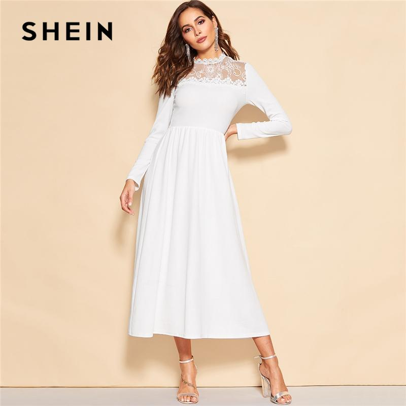 4639a71178 SHEIN White Lace Insert Zip Back Stand Collar Fit And Flare Mid Waist Maxi  Dress Women Long Sleeve A Line Elegant Party Dresses Brides Dresses  Cocktail ...