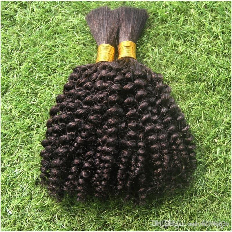Black Color Pure Black Color Brazilian Bulk Hair For Braiding No Attachment 100g Kinky Curly Brazilian Hair No Weft Bulk Hair Extensions
