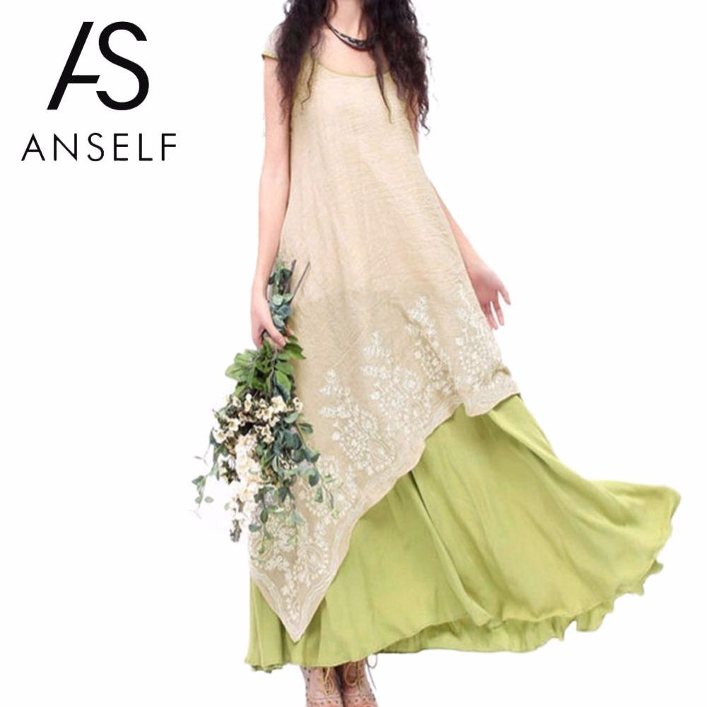 ca5b4aa819a 2019 Anself 5XL Boho Summer Floral Embroidery Casual Maxi Dress Women  Vintage O Neck Two Layers Long Beach Dress Vestidos Plus From T shop008