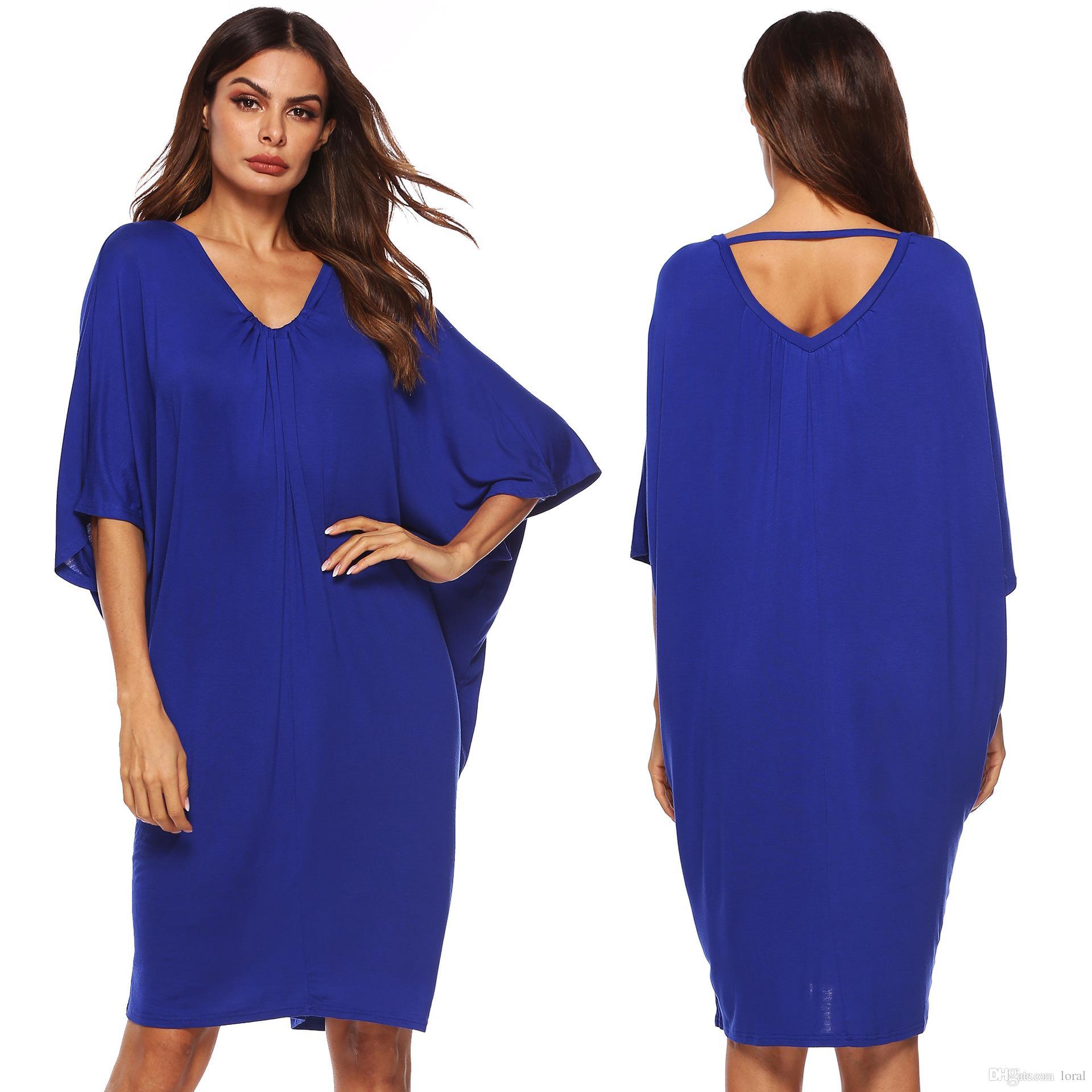 bddf242517 Compre Las Mujeres Atractivas Del Vestido Azul Con Cuello En V Vestidos  Casuales De Batwing Primavera Verano Noche Vestidos De Fiesta Envío Gratis  A  29.65 ...