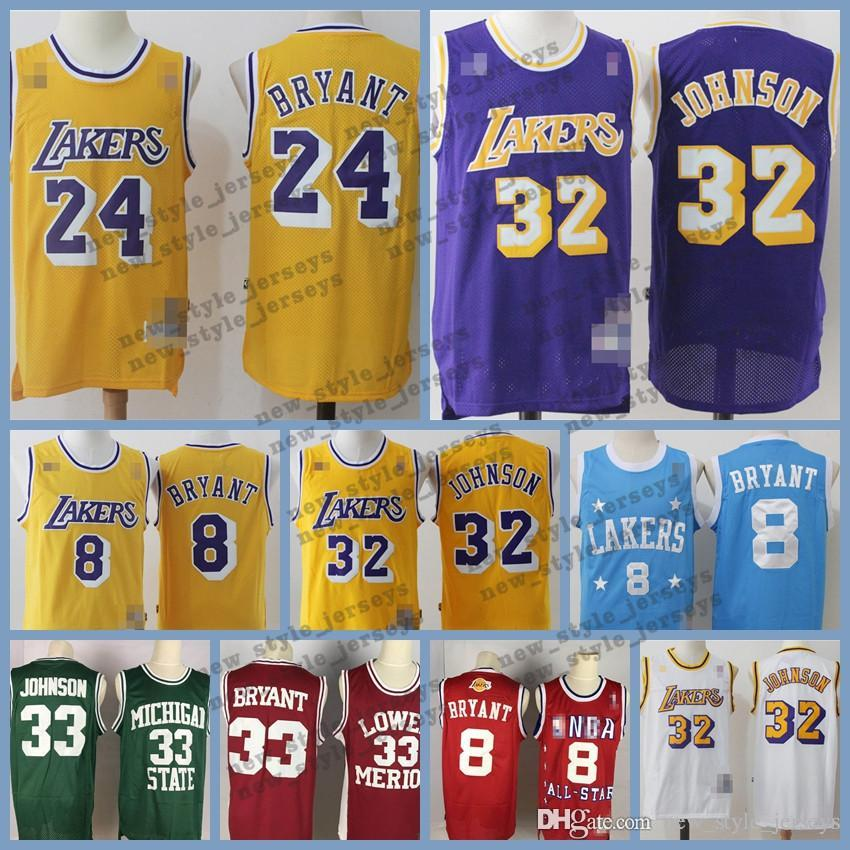 online store f1c1a 3c34e Lebron MEN Los Angeles Retro Laker jersey Kobe 24 Bryant Johnson 32 James  Earvin LeBron Ness Classics Basketball Jerseys Mitchell