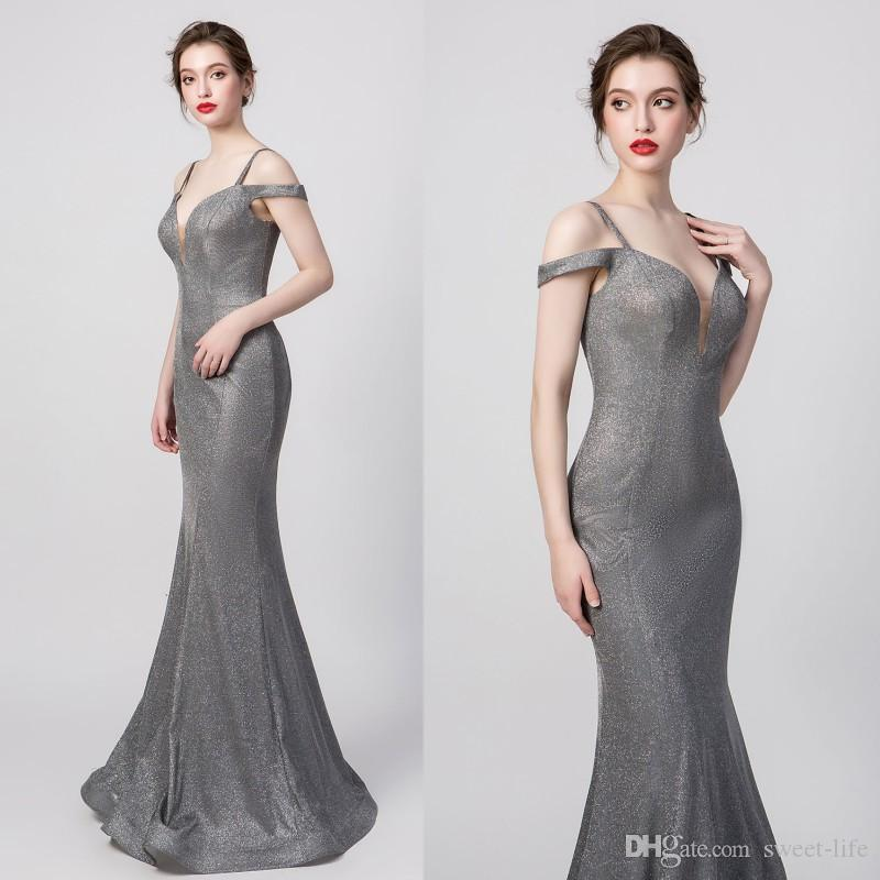 100% Real Pictures Grey Sexy Elegant Mermaid Prom Dress Spaghetti Modest Special Occasion Dresses Long Evening Dresses Maxi Gown 5261