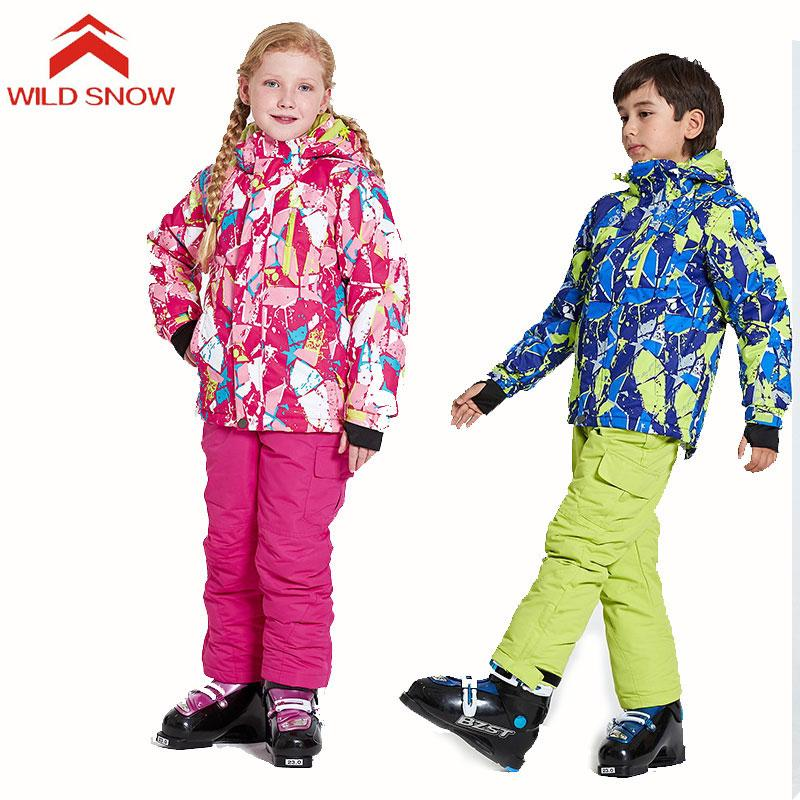 28bb5222d 2019 WILD SNOW New Kids Ski Suit Waterproof Windproof Ski Jacket And ...