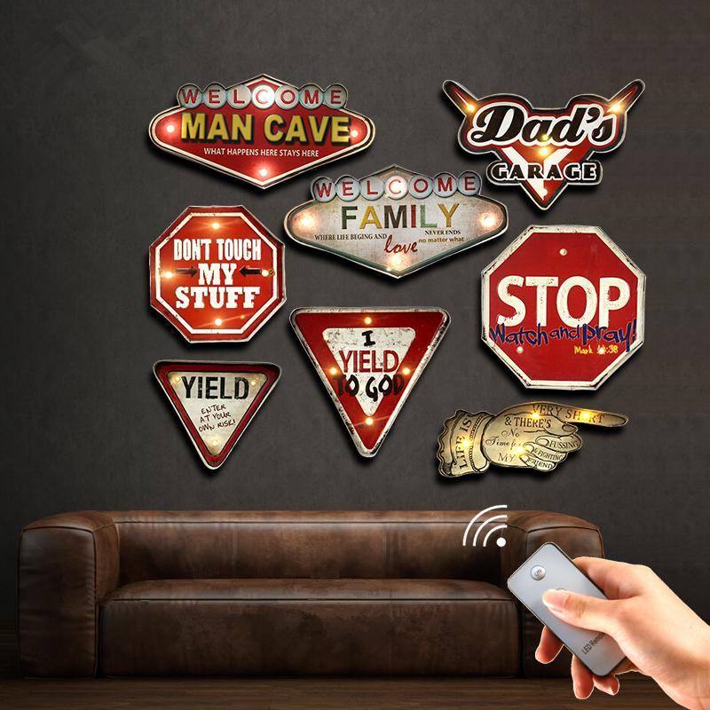 Man Cave Remote Controller LED Neon Sign Garage Bar Cafe Club Home Decor Wall Painting Illuminated Hanging Metal Signs YN083 SH190918