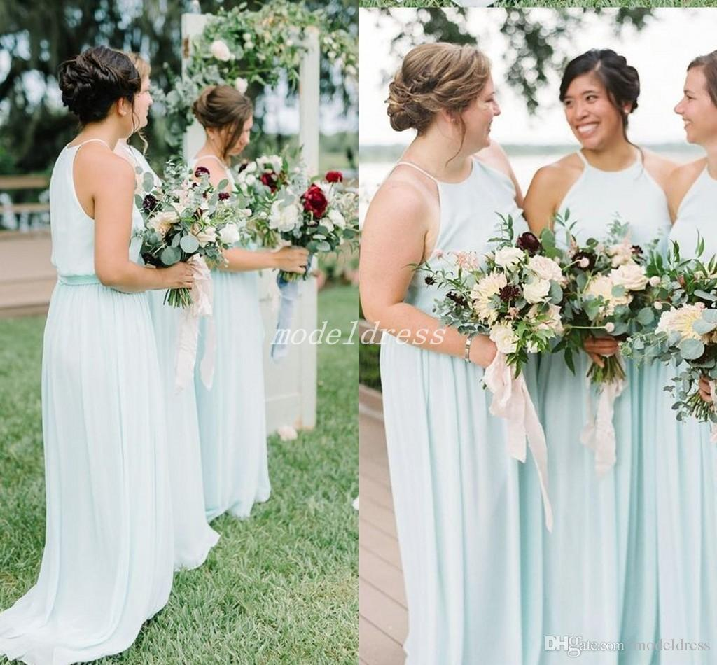 Discounted Wedding Dresses: Mint Green Boho Plus Size Bridesmaid Dresses Spaghetti