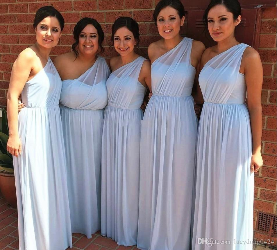 04a319d4a23 New One Shoulder Flowy Chiffon Bridesmaid Dresses Pleated Sleeveless Floor  Length Plus Size Bridesmaid Gowns Maid Of Honor Ugly Bridesmaid Dress  Unique ...