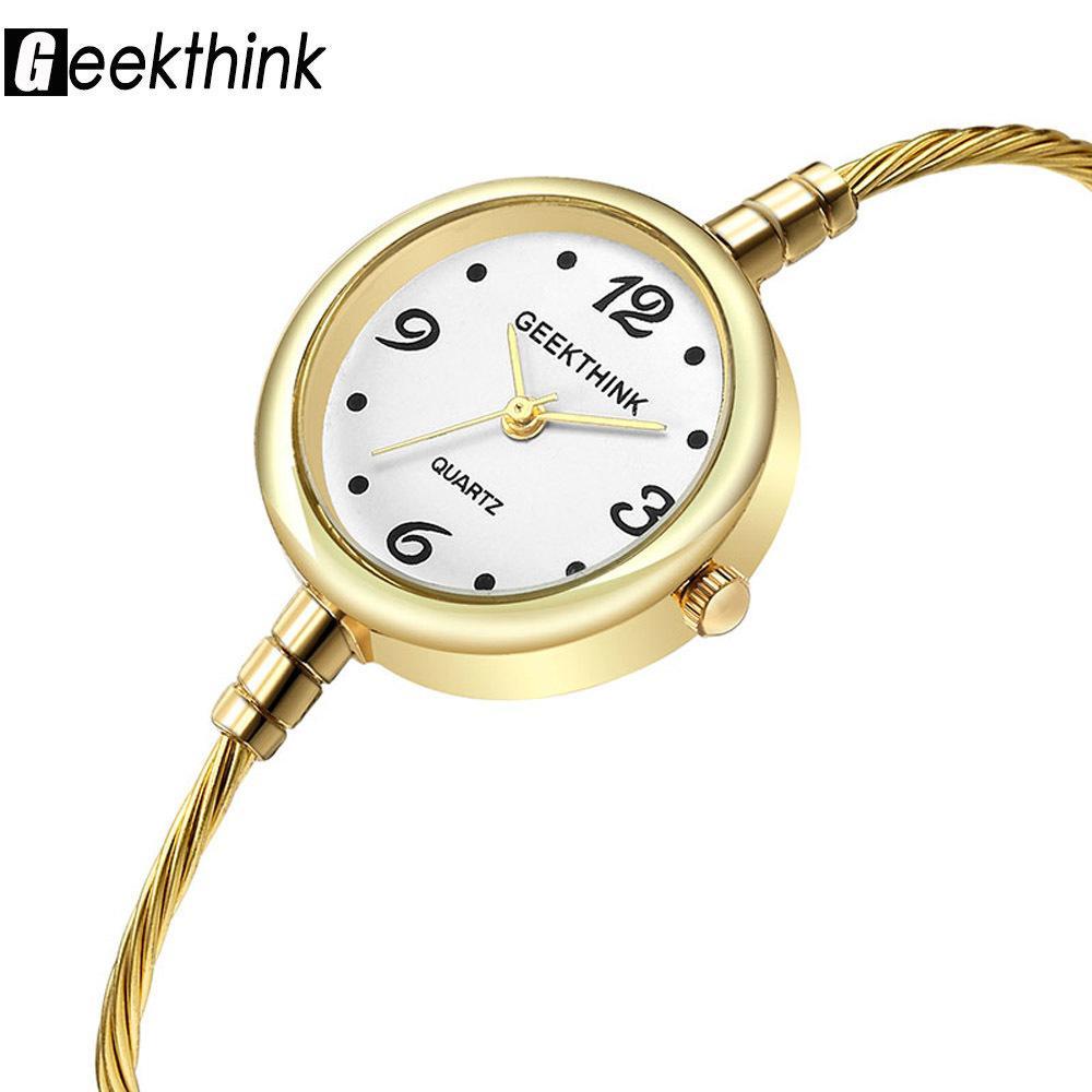 Compre Original GEEKTHINK Relojes De Pulsera Para Dama Vestido De Moda De  Oro Con Estilo De La Cadena De Joyería Reloj De Cuarzo Reloj De Vestir De  Las ... 6e2be97fd3c5