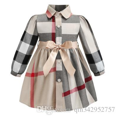 Lapel long sleeve girls dress 2019 INS spring new styles European and American styles girl high quality cotton big plaid dress