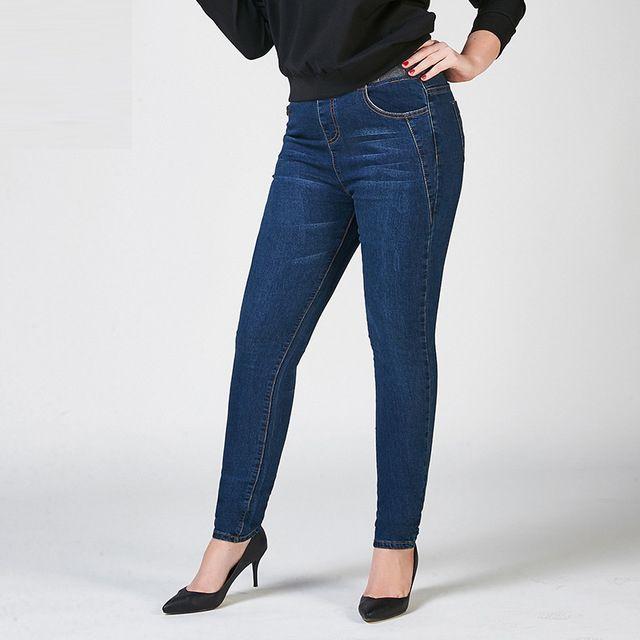 910ae7879 Compre Tamanho Grande Das Mulheres Denim Calça Menina Primavera Inverno  Novo Elástico Na Cintura Jeans Plus Size Stretch Lápis Skinny Calças Das  Mulheres De ...