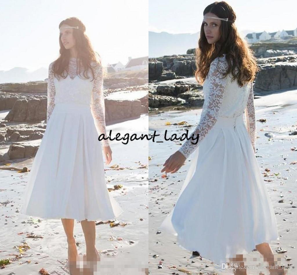 e5988e6184c Discount Tea Length Short Wedding Dresses With Long Sleeve Modest High Neck  Lace Summer Holiday Beach Boho Seaside Bridal Wedding Gown Simple Wedding  ...
