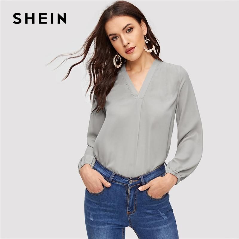 16245dd37b SHEIN Grey Elastic Cuff V Neck Solid Plain Top Women 2019 Spring ...