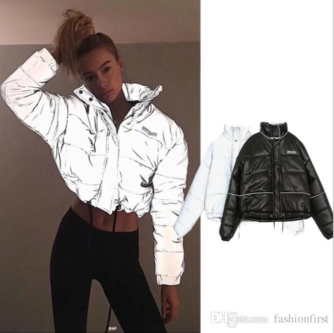 a0fb548179a 2019 Winter Reflective Light Jackets Women Thick Short Womens Parkas Female  Outwear Coat Cotton Padded Casual Wear Coats Jacket From Fashionfirst