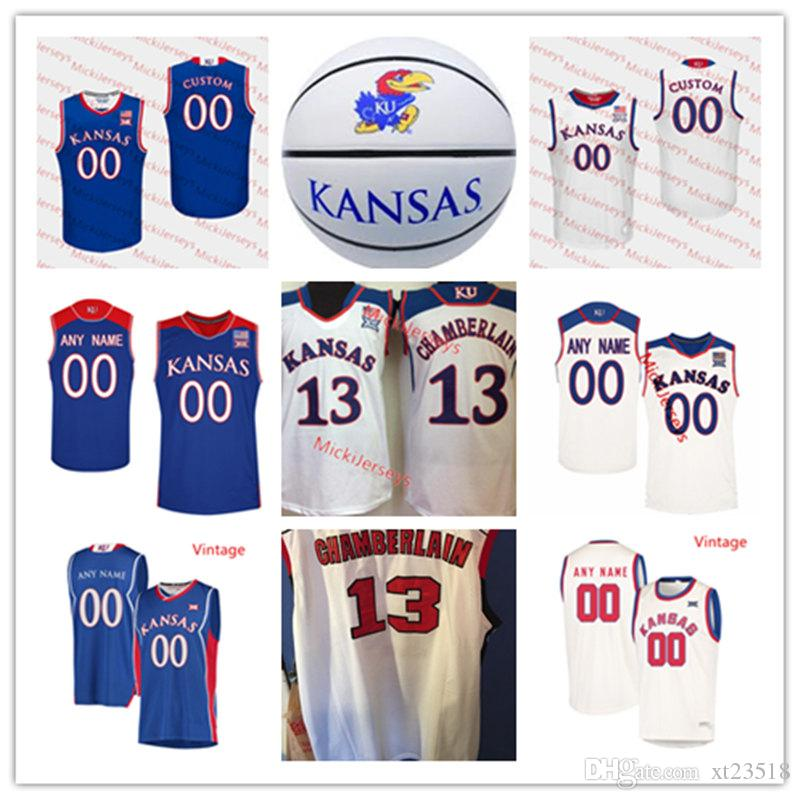 new concept 7a209 849be Custom NCAA Kansas Jayhawks Basketball Jersey Tyshawn Taylor 0 Thomas  Robinson 13 Walt Wesley 34 Paul Pierce 16 Clyde Lovellette KU Jersey