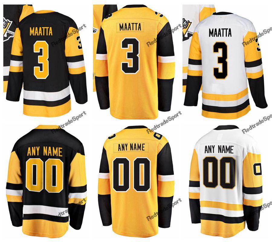 new product ad4d6 00cf3 2019 New Alternate Yellow Pittsburgh Olli Maatta Hockey Jerseys Mens Custom  Name Home #3 Olli Maatta Stitched Hockey Shirts S-XXXL