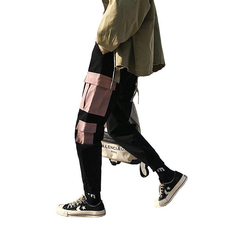 classic style complete range of articles marketable 2018 Retro Hip hop Pants Men Oversized Splicing Multi-Pocket Street Style  Cargo Pants Cotton Autumn Casual Men Black Jogger Pant
