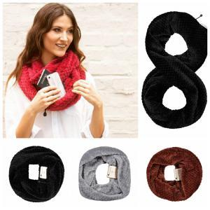 Zipper Pocket Loop Scarf 4 Colors Women Winter Warm Hidden Pocket O Ring Scarves Convertible Infinity Scarf Party Favor 100pcs OOA6176