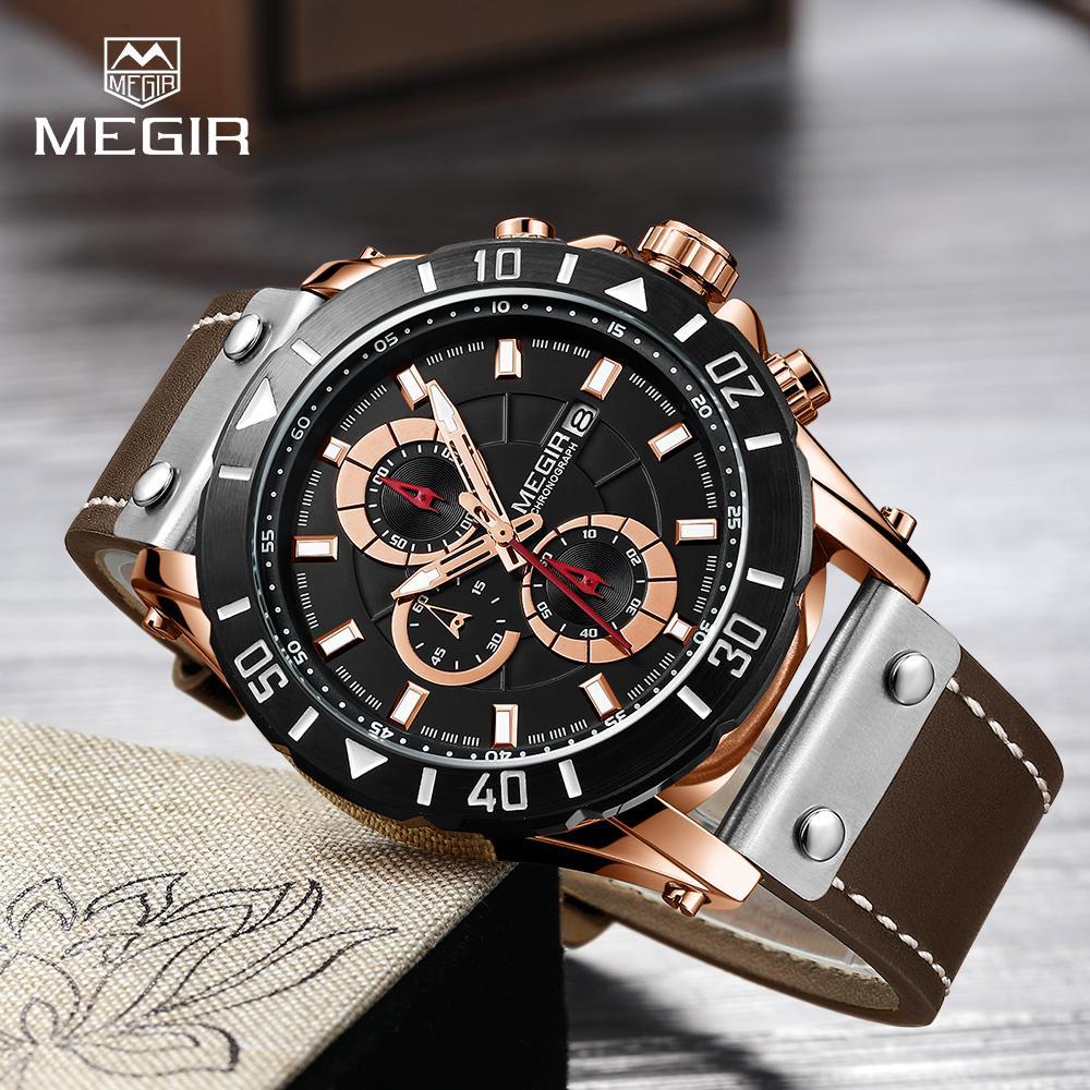 78819c8f220 Compre Megir Cronógrafo Esporte Homens Relógio De Couro Criativo Relógios  De Quartzo Homens Relógio Hora Militar Do Exército Relógios De Pulso Relogio  ...