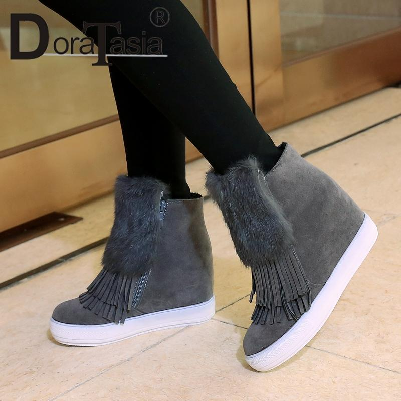 42573f7c28b DoraTasia Large Size 32-45 Women Ankle Boots Fringe Round Toe With Fur  Platform Shoes Woman Hidden Wedge High Heels Winter Boots Ankle Boots Cheap  Ankle ...