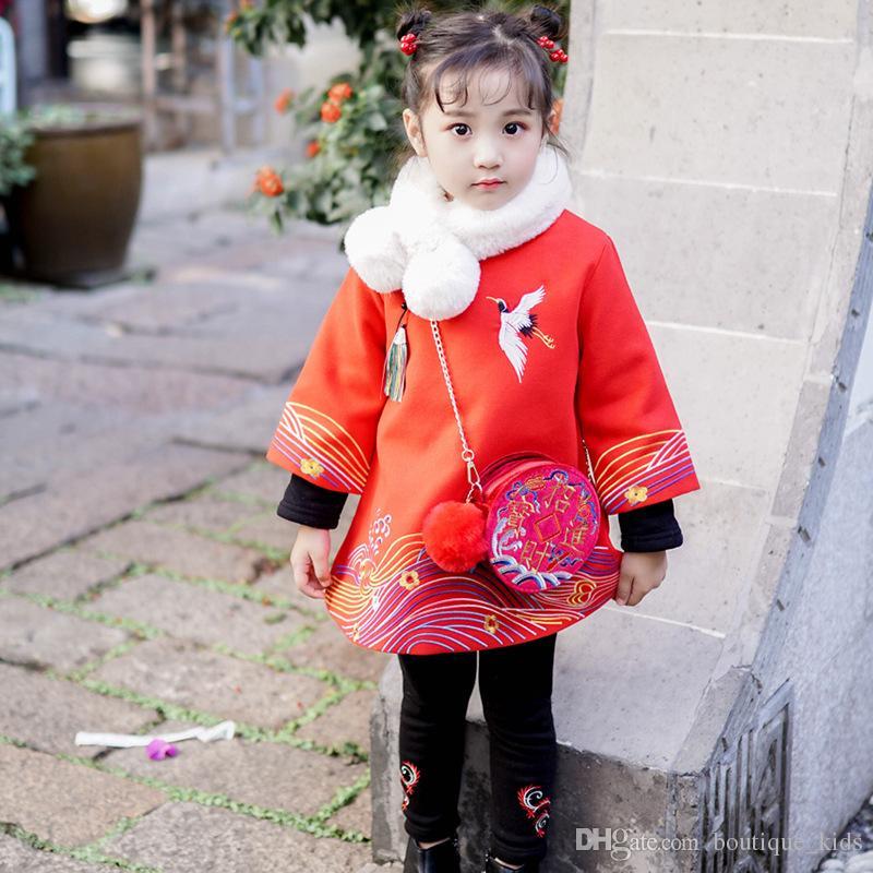 Compre Niños Bebés Niñas Clothese 2019 Más Nueva Moda Estilo Chino Vestidos  De Año Nuevo Winther Espesar Bordados Cheongsam Vestidos Chicas Tang Traje  A ... 8f71cda2e3f