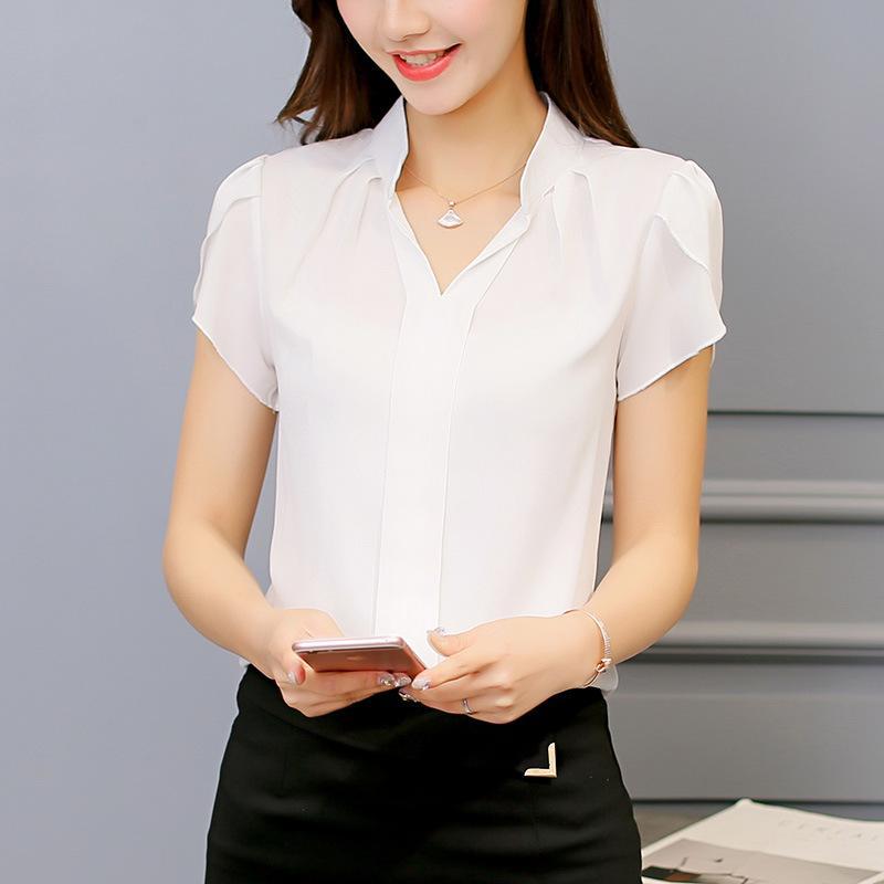beispiellos Tropfenverschiffen großer rabatt von 2019 Marke frauen körper bluse shirt kurzarm v-ausschnitt solide sommer clothing  koreanische weibliche damen arbeiten büro tragen chiffon bluse top