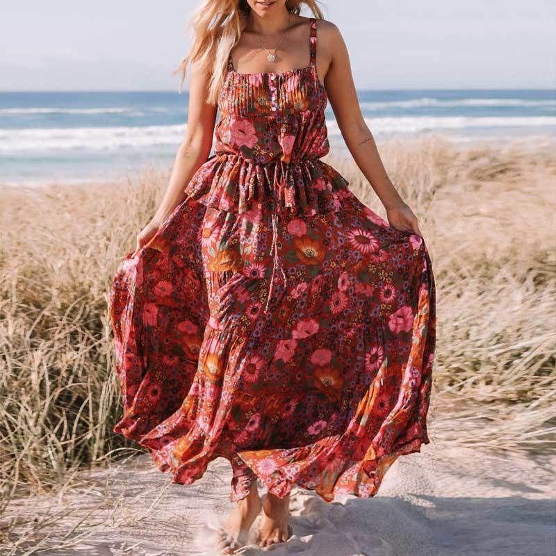 b0d909bc60e3 Inspirierte Rock Blumendruck Rayon elastische Taille Röcke Womens Bohemian  Gypsy lange Röcke Strand Faldas weibliche