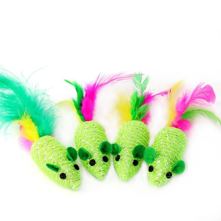 Green braided Artificial feather mouse toy with funny sounds Funny cat toy cat supplies Scratch resistant animal toys T2I5929