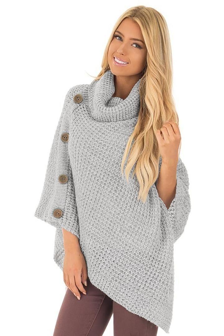 9c1a46aa3 Compre 2019 Winter2019 Jersey De Cuello Alto Manto Mujer Suéter Estilo De  Europa Moda Murciélago Ala Manga Botón De Punto Suéter Femenino A  28.59  Del ...