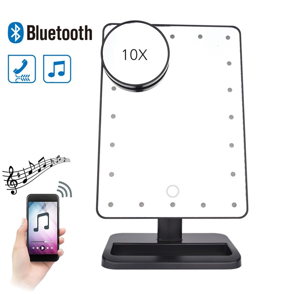 180 Degree Rotation 20 Led Touch Screen Makeup Mirror Bluetooth Speaker 10x Magnifying Mirrors Lights Health Beauty Tool Attractive Fashion Vanity Lights