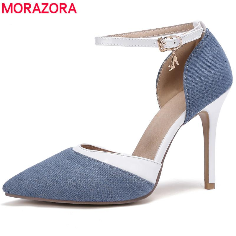 7e3f8bda1d MORAZORA Size 34-47 Hot 2019 New arrival ankle strap women pumps pointed  toe stiletto high heels wedding shoes woman drop ship