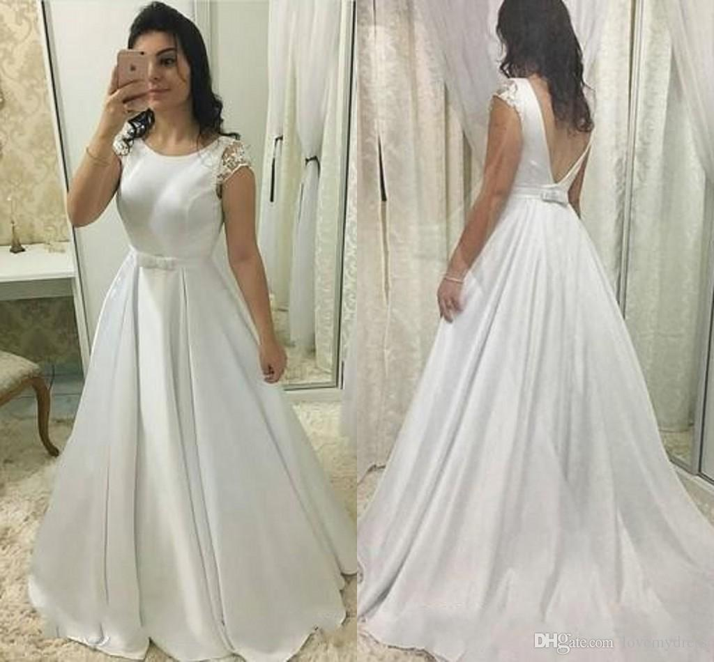 Simple V Open Back Empire Waist A-line Wedding Dresses With Short Sleeves Scoop Ribbon Bow Lace Satin Wedding Reception Dress Bridal Gowns