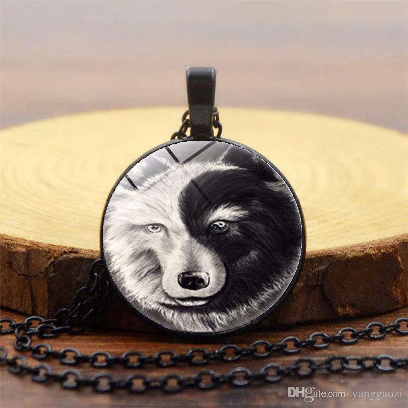 New foreign trade accessories Yin Yang wolf totem time gemstone necklace Glass dome pendant necklace 3 colors optional