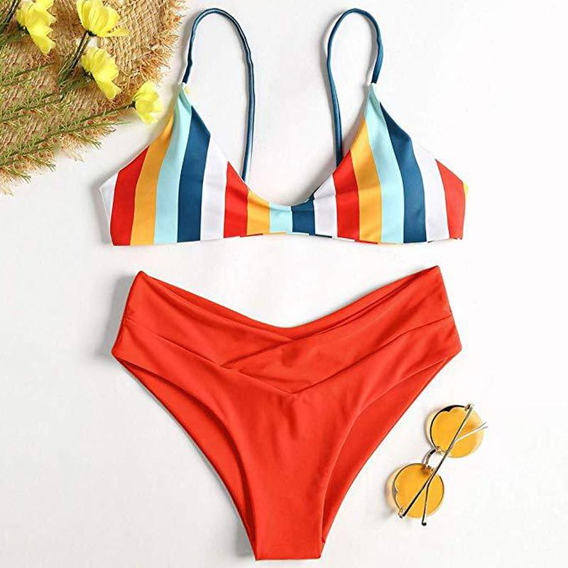 6f2fbd8e0af Bikini Push Up Woman 2019 High Waist Swimsuit Bathing Suit Woman 2 Pieces  Thong Bikini Cactus Striped Print Swim Wear For Women