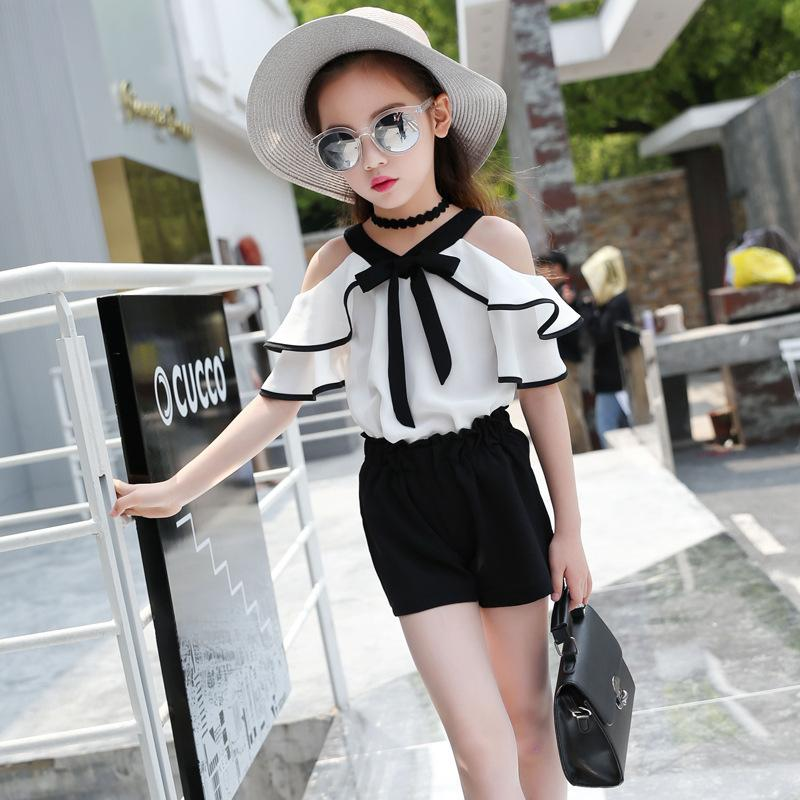 Baby Clothing Set Girls Were 2019 New Designer Clothes And Children Love Shirt Shorts 2 Piece Black Chiffon Dress