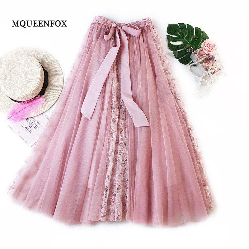 c428c99fd 2019 Nueva Moda de Tul Falda Elegante Costura de Encaje Plisado Tutu Faldas  Mujeres Vintage Falda Larga Lolita Saias Faldas Mujer Y19043002