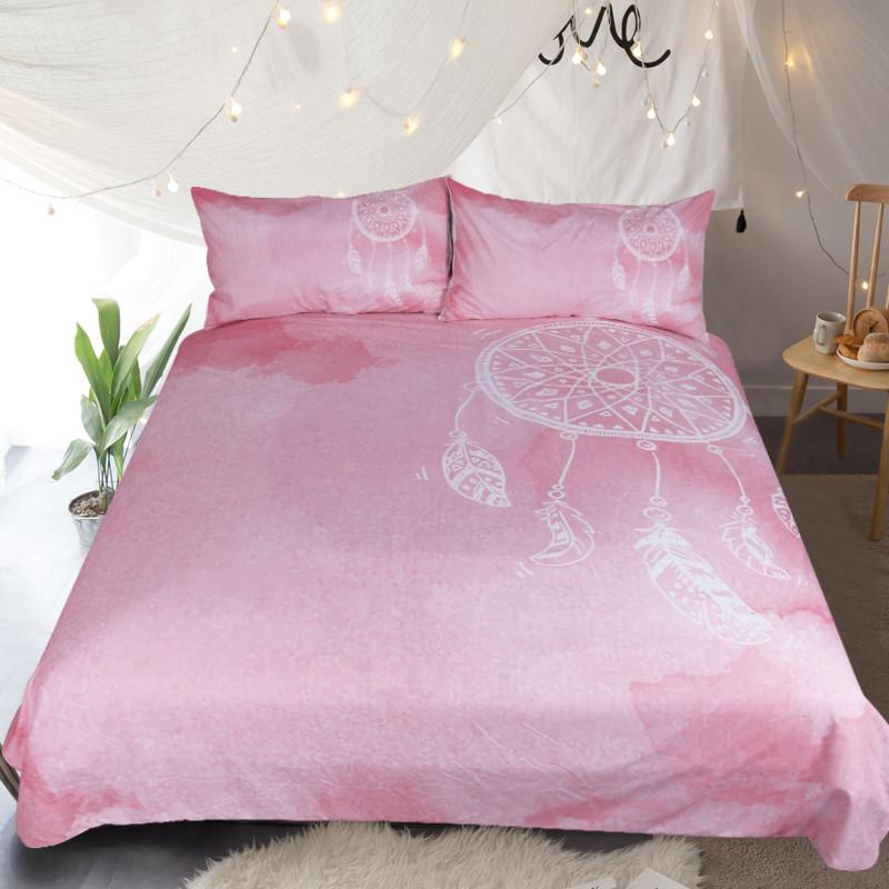 Pink Dreamcatcher Bedding Set Queen Size Watercolor Quilt Cover With Pillowcases Twin Queen King Size Girls Bedclothes Home Textiles