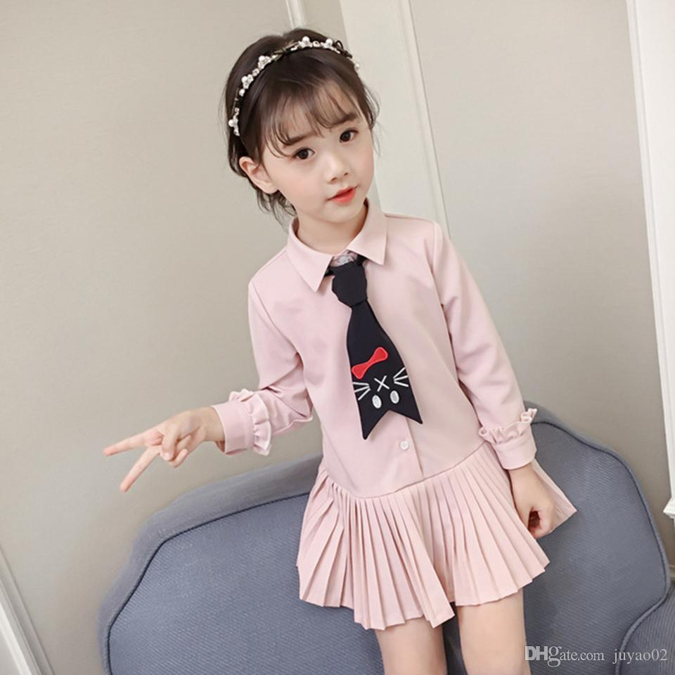 b95b9a0d51ad6 Spring Summer Baby Girls Dress Casual Pleated Bow Tie Long Sleeve Sweet  Shirt Skirt Princess Dress Baby Girl Clothes Kids Dress For Girls