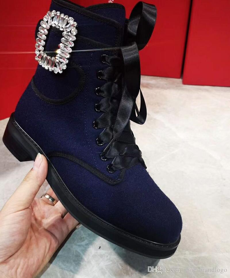 2019 autumn SPRING Womens Navy blue tweed combat ankle booties clear crystal Rhinestones buckle strap lace up WITH ZIP biker Military Boots